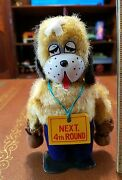 Vintage Tin Yone Next 4 Round Tin Wind Up Dog Made In Japan Works Toy Lot