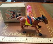 Vintage T.n Tin Windup Cowboy Horse Celluloid Made In Japan In Box Tin Toy Lot