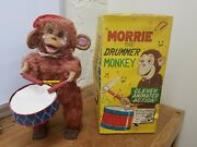 Morrie The Drummer Monkey Tin Cloth Made In Japan In Box Tin Toy Lot Sk Windup