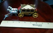 Vintage Iron/metal Wind Up Tin Circus Carriage With Horses Toy Lot Working Rare