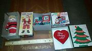 Alps Tin Wind Up Santa Claus Wind Up Locomotive Tin Toy Lot Made In Japan Boxed