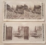 2 Antique Vintage Stereoview Cards Earthquake Spirit Of And03949 Stockton St Post Ca
