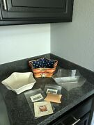 Longaberger Christmas, Red Shining Star Basket, Div Prot, Liners, Tie On And Dish