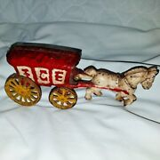 Vintage Cast Iron Horse And Ice Wagon Yellow Working Wheels