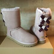 Ugg Short Bailey Bow Ii Shimmer Dusk Suede Boots Size 7 Womens