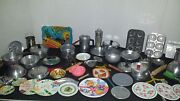 Vtg Tin Litho Metal Childrenand039s Doll Dishes Cookware Pans Cutlery 68 Pcs Lot Toy