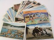 Wyoming Wy 27 Linen Postcard Lot Posted+ 1 Large Letter Curteich Sanborn 339