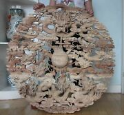 39 Chinese Wood Carving Feng Shui Nine Dragon Play Ball Bead Flower Plate Screen