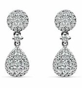Estate .78ct Diamond 18kt White Gold Classic Tear Drop Cluster Hanging Earrings