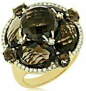 Estate Large 16.15ct Diamond And Aaa Smoky Topaz 14kt Yellow Gold Flower Fun Ring
