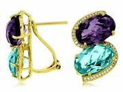 16.55ct Diamond And Blue Topaz And Amethyst 14kt Yellow Gold Oval Clip On Earrings