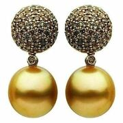 Estate Large 2.1ct Mocha Diamond And Golden South Sea Pearl 18k Rose Gold Earrings