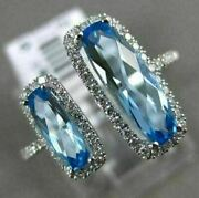 Estate Large 2.34ct Diamond And Aaa Blue Topaz 14k White Gold Double Halo Fun Ring