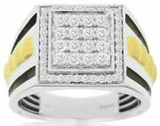 Estate Large 1ct Diamond 14kt White And Yellow Gold 3d Classic Square Menand039s Ring