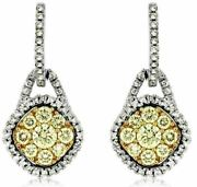 Estate 1.31ct White And Fancy Yellow Diamond 14k Two Tone Gold 3d Hanging Earrings