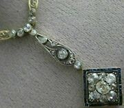 Antique Large 2.30ct Diamond And Aaa Sapphire 14kt Two Tone Gold Necklace 26434