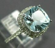 Estate Large 2.50ct Diamond And Aaa Aquamarine 14kt White Gold 3d Engagement Ring