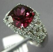 Estate Wide 3.0ct Diamond And Aaa Rhodolite 14k Rose Gold Infinity Engagement Ring