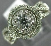 Estate Large 1.0ct 14k White Gold Double Halo Solitaire Infinity Engagement Ring