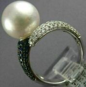 Large .94ct Diamond Aaa Sapphire And Aaa South Sea Pearl 18kt White Gold Love Ring