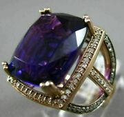 Large 13.81ct Chocolate Fancy Diamond And Aaa Amethyst 14kt White Gold Square Ring