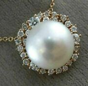 Estate Large .80ct Diamond And Aaa South Sea Pearl 18kt Rose Gold Flower Pendant
