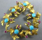 Antique Aaa Turquoise Ruby 18k Yellow Gold Floral Wreath Circle Brooch Pin 1956