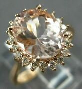 Estate Large 2.96ct Diamond And Aaa Morganite 14kt Rose Gold Oval Engagement Ring