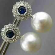 Estate 1.55ct Diamond Aaa Sapphire And South Sea Pearl 18kt White Gold 3d Earrings
