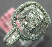 Wide .78ct Diamond 18kt White Gold 3d Round And Assher Square Halo Engagement Ring