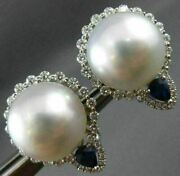 Large 2.38ct Diamond Aaa Sapphire And South Sea Pearl 18kt White Gold 3d Earrings