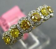 Estate .96ct White And Fancy Yellow Diamond 18kt Yellow Gold Halo Anniversary Ring