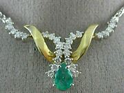 Antique 1.95ct Diamond And Aaa Emerald 14k White And Yellow Gold Swirl Necklace 6871