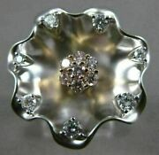 Estate Large .60ct White And Pink Diamond 18k White And Pink Gold 3d Flower Fun Ring