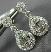 Large 1.40ct Round And Baguette Diamond 18kt White Gold Tear Drop Hanging Earrings