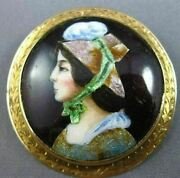 Antique Large Multi Color Enamel 14kt Yellow Gold 3d Victorian Lady Brooch Pin