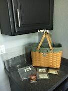 Longaberger Magazine Basket, Prot, Liner In Sage Green,handle Tie,and Pew Tie On
