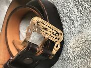 10k Solid Gold Boudreaux's Buckle Expanso Genuine Cordovan Leather Belt Size 40