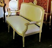 Polychrome French Louis Xvi Settee Canapé Sofa Barbola Roses And Ribbons