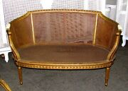 19th Century French Louis Xvi Cane Caned Settee Sofa Canapandeacute