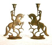 Art Deco Candle Holders Nude Nickel Plated Iron Woman On Horse American Signed