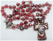 Catholic Red Rosary Murano Crystal Glass Rosaries From Medjugorje + Gift Bag