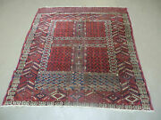 4and039 X 5and039 Antique Hand Made Fine Tekkeh Turkoman Engsi Hatchli 4 Seasons Wool Rug