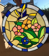 Vintage Leaded Stained Glass Hummingbird Flowers 12 Suncatcher Panel 100 Pieces