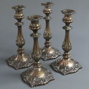 4 Antique 1800's Sheffield Silver On Copper Candlestick Holders Roccoco 10.5