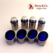 Open Salt And Pepper Shakers Sterling Silver Cobalt Blue Glass Wilcox 1910