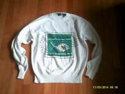 Vintage Nautica The Islands Fishing Sailing Postage Stamp Sweater Size S To M