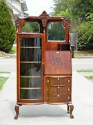 Mahogany Side By Side Desk Bookcase Display Cabinet Circa 1910