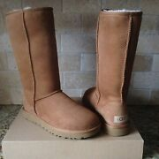 Ugg Classic Tall Ii 2.0 Chestnut Water-resistant Suede Boots Size Us 9 Womens