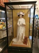 Large Antique Silk Kimono Doll In Original Wood And Glass Case..signed